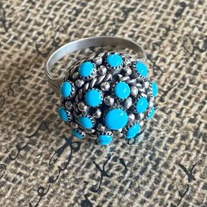 Zuni Turquoise &Sterling Petit Point Ring Size 6.5